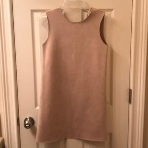 Cream suede mini sleeveless dress